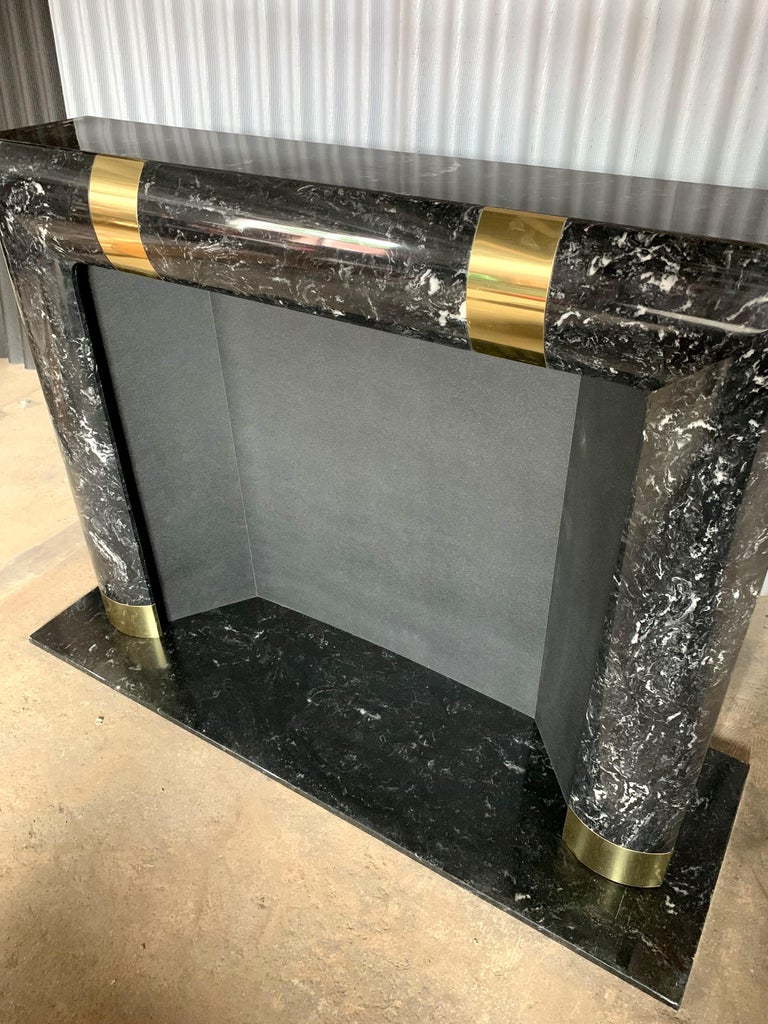 Late 20th Century Fabulous Brass Marble and Composite Fireplace Surround For Sale