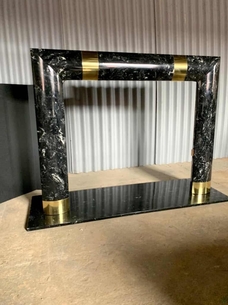 Fabulous Brass Marble and Composite Fireplace Surround For Sale 1