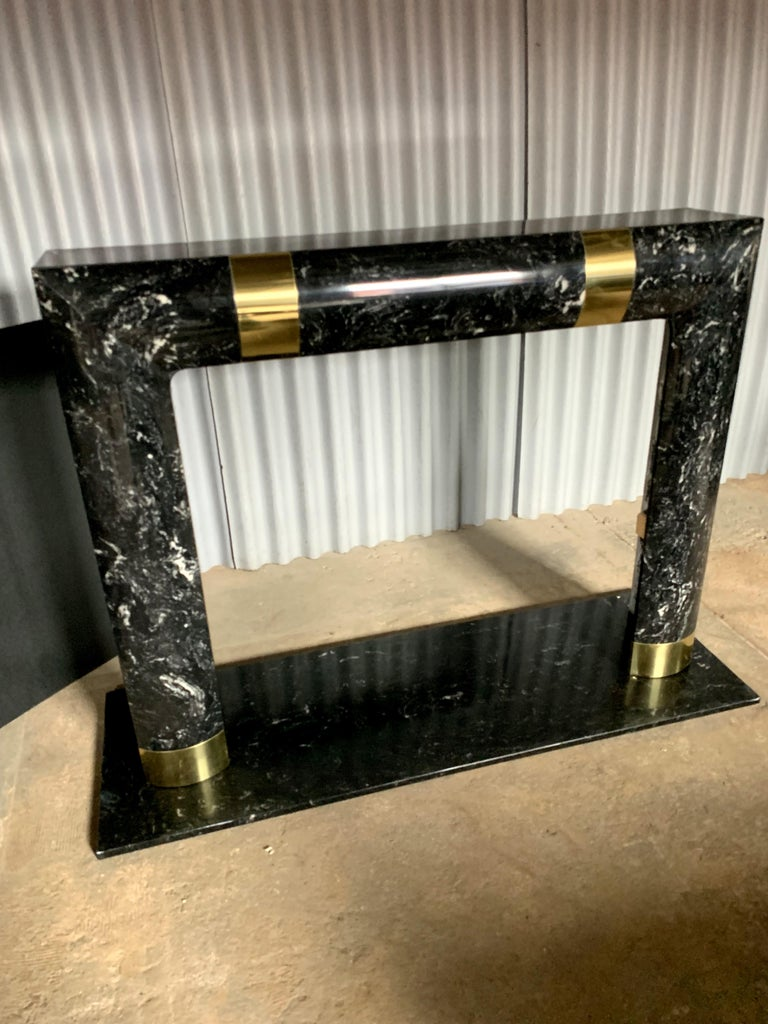Fabulous Brass Marble and Composite Fireplace Surround For Sale 2