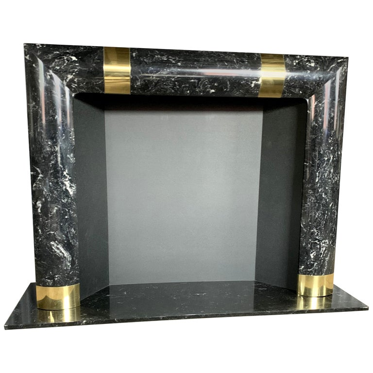 Fabulous Brass Marble and Composite Fireplace Surround For Sale