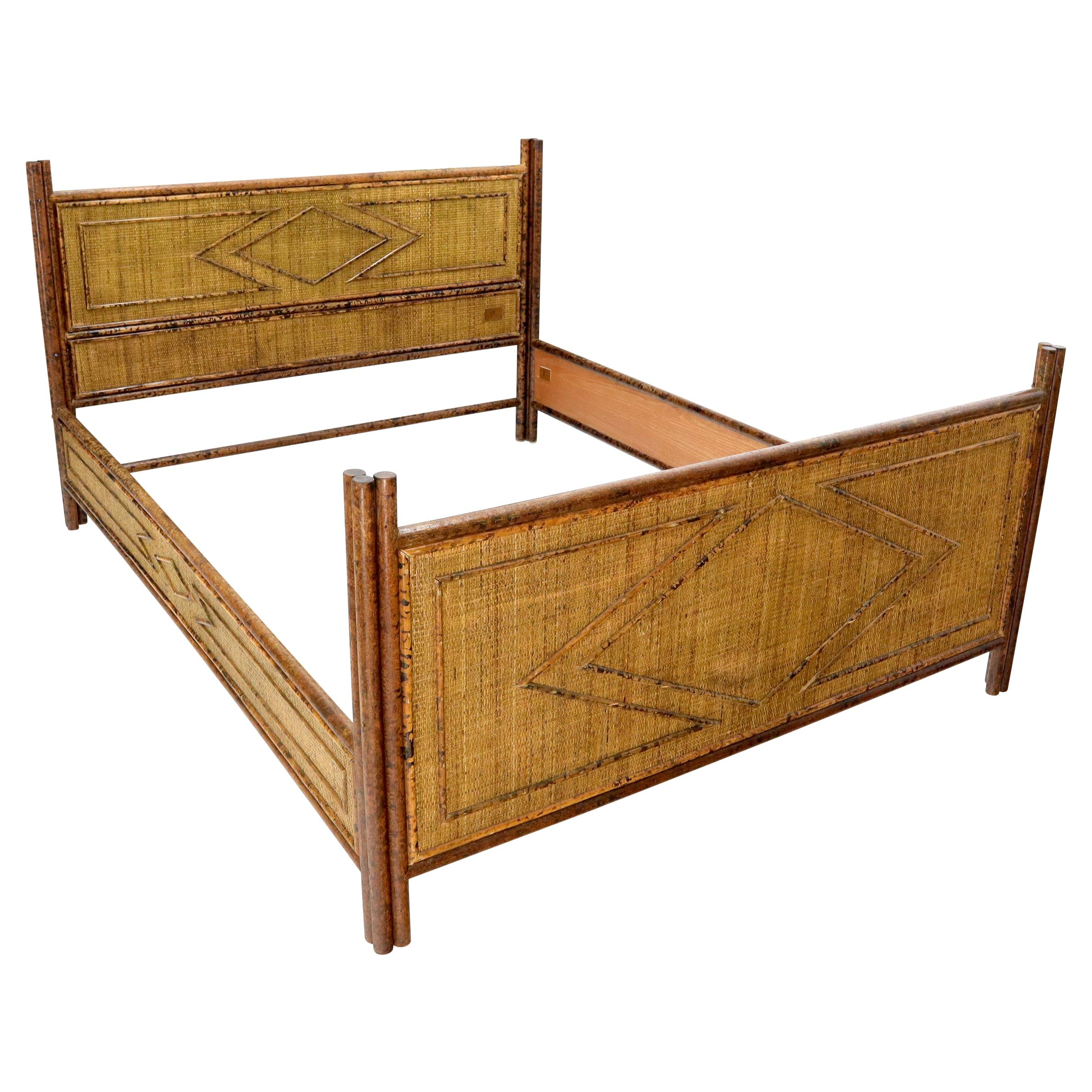 Fabulous Burnt Bamboo and Rattan Queen Size Bed Headboard Rails