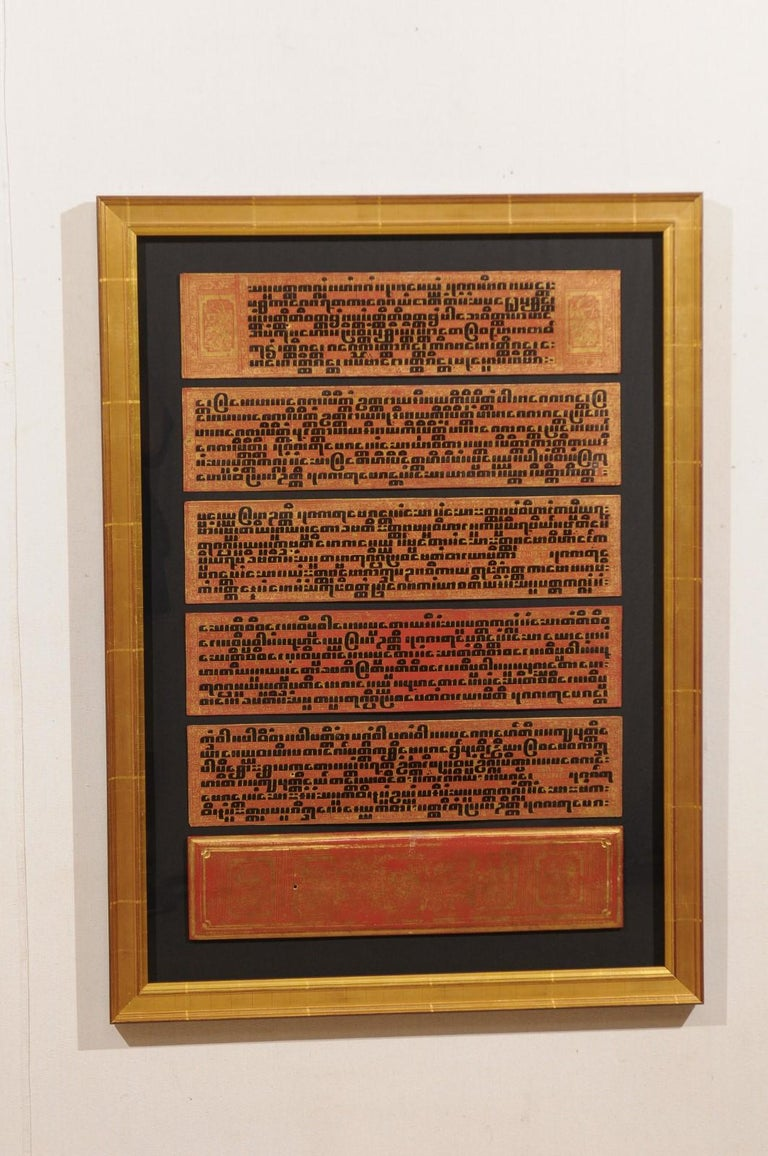 Burmese Fabulous Collection of 19th Century Framed Buddhist Manuscripts For Sale