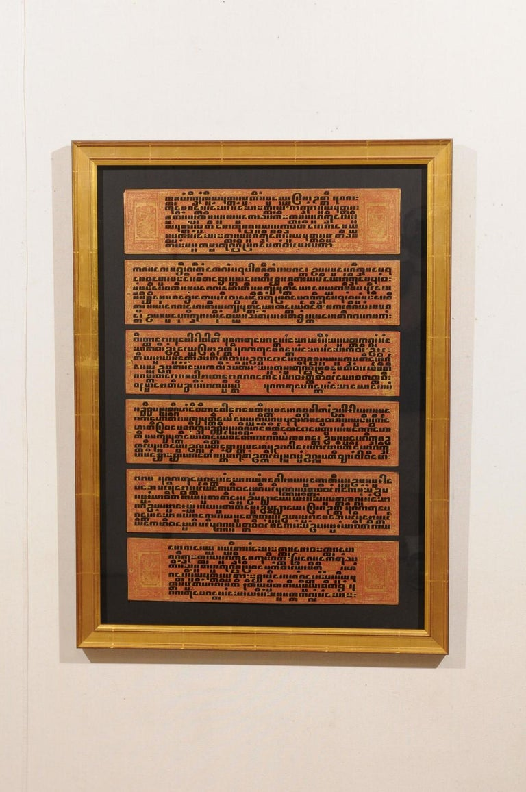 Painted Fabulous Collection of 19th Century Framed Buddhist Manuscripts For Sale