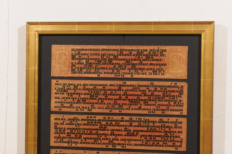 Wood Fabulous Collection of 19th Century Framed Buddhist Manuscripts For Sale
