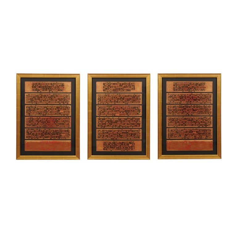 Fabulous Collection of 19th Century Framed Buddhist Manuscripts For Sale