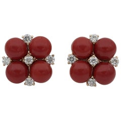 Fabulous Deep Red Sardinia Coral .50 Carat Diamond Floret Earrings