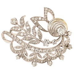Fabulous Diamond 18 Karat White Gold Brooch