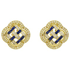 Fabulous Chatila Diamond and Sapphire Yellow Gold Earrings