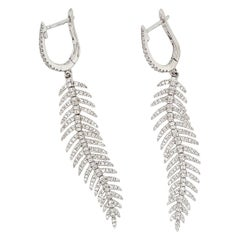 Fabulous Diamond and White Gold Feather Earring