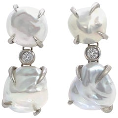 Fabulous Double Baroque Pearl Drop Earrings