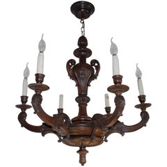 Fabulous Early 1900's Six-Light Quality Carved Mahogany Chandelier Light Fixture