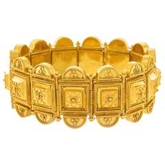 Fabulous Etruscan Revival Gold Bracelet