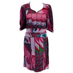 Fabulous Fendi Multi Color Pleated Dress with Tan Leather Trim 44 EU