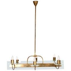 Fabulous Floating Fontana Gold Six Arm Chandelier Brass & Cut Glass 1950s Italy