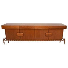 Fabulous Frank Kyle Floating Credenza in Faux Bamboo Mahogany & Brass MOD 1960s