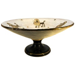 Fabulous Fratelli Fanciullacci Gilded French Poodle Pedestal Dish, 1950s Kitsch