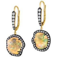 Fabulous Freeform Mexican Opal Earrings with Diamond Accent in 18 Karat Gold