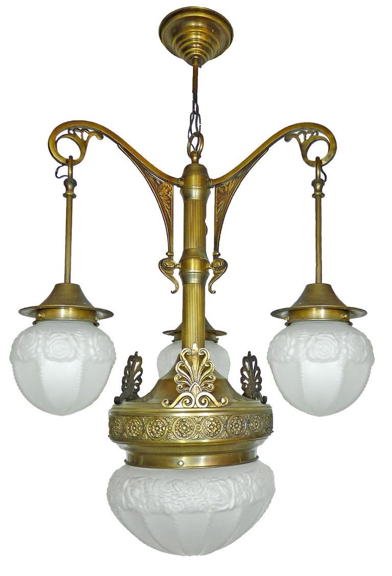 20th Century Fabulous French Art Deco Art Nouveau Brass Molded Frosted Glass Chandelier For Sale