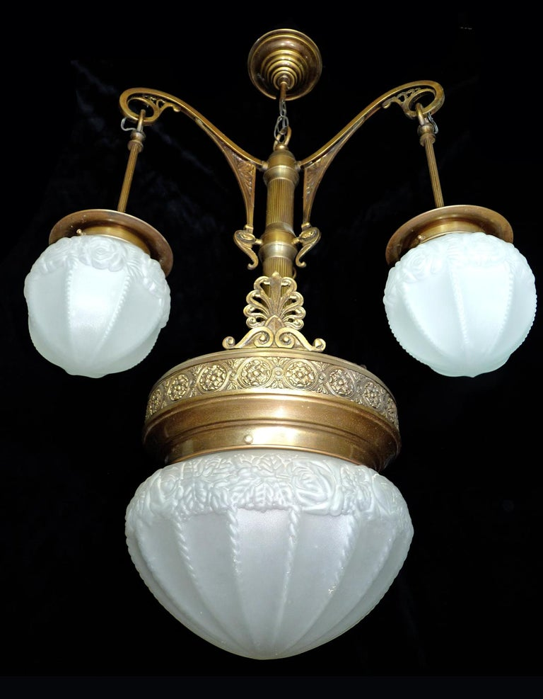 Fabulous French Art Deco Art Nouveau Brass Molded Frosted Glass Chandelier For Sale 1