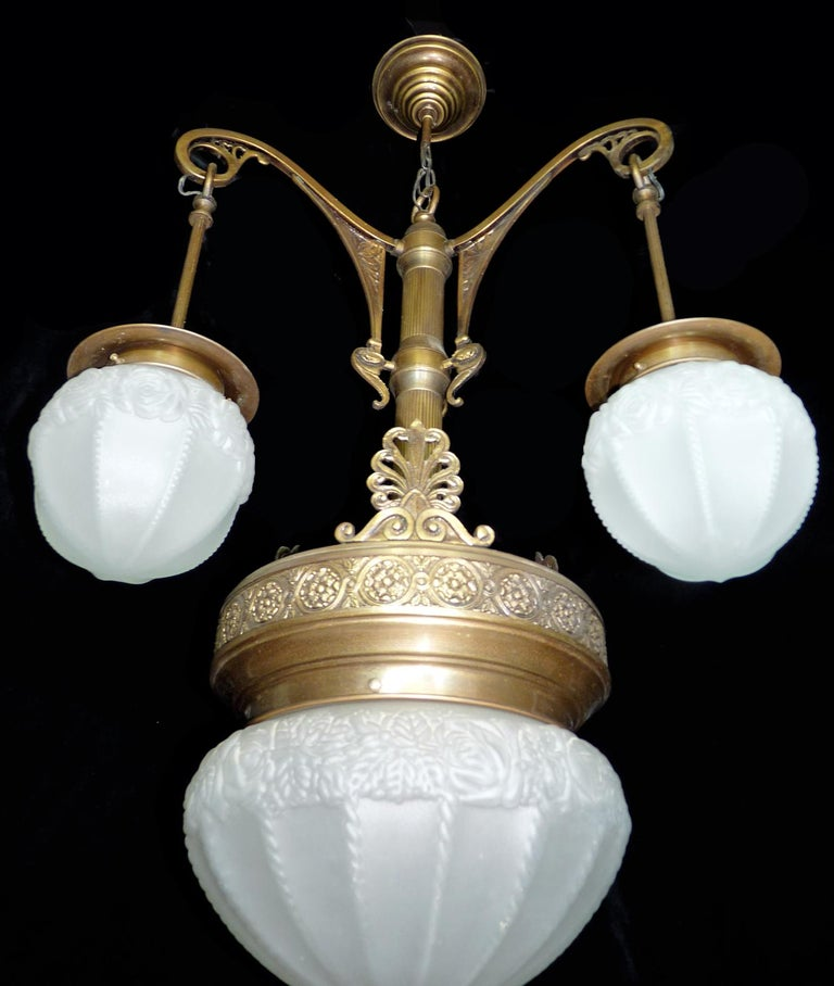 Fabulous French Art Deco Art Nouveau Brass Molded Frosted Glass Chandelier For Sale 3