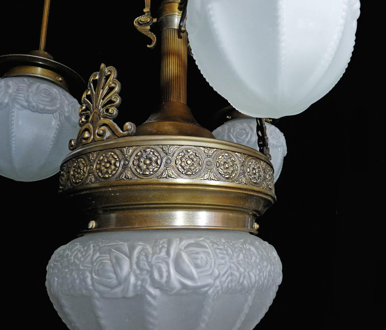 Fabulous French Art Deco Art Nouveau Brass Molded Frosted Glass Chandelier For Sale 4