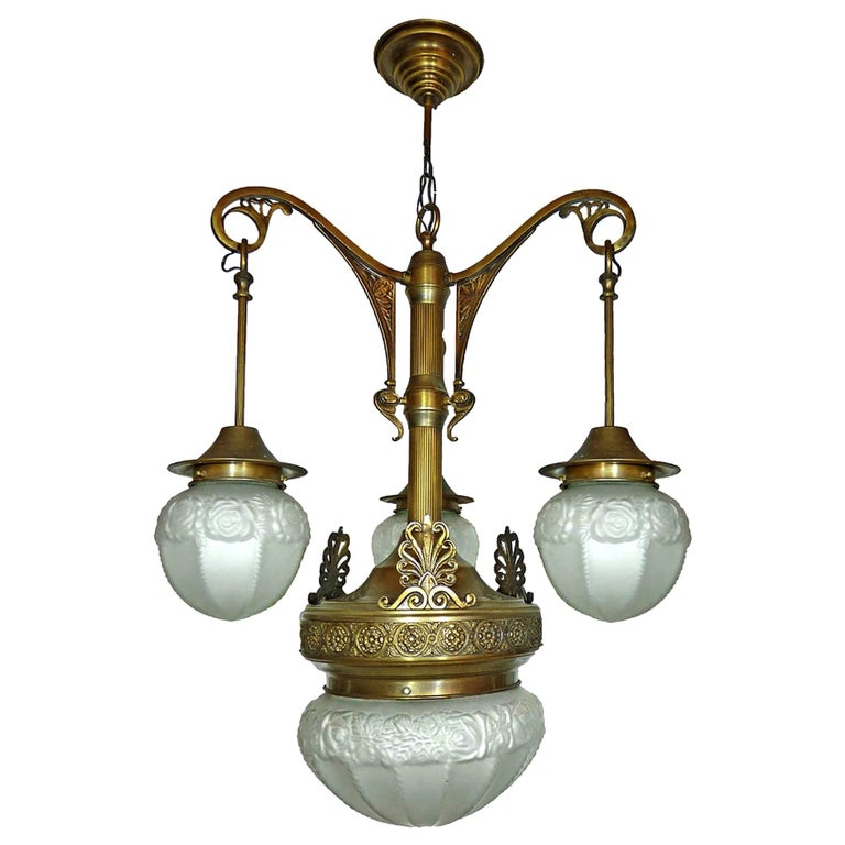 Fabulous French Art Deco Art Nouveau Brass Molded Frosted Glass Chandelier For Sale