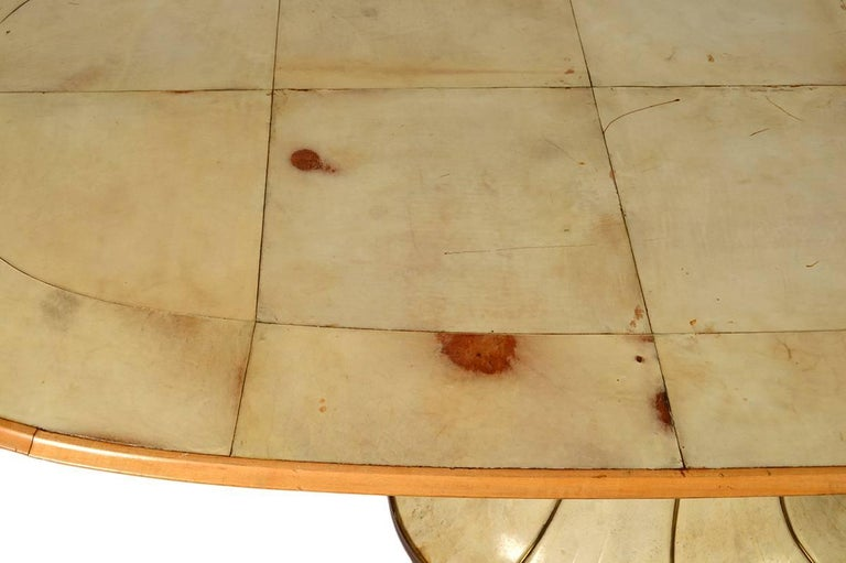 Mid-20th Century Fabulous French Art Deco Parchment Pedestal Base Dining Table