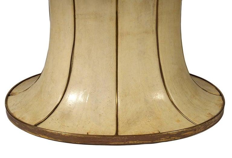 Fabulous French Art Deco Parchment Pedestal Base Dining Table 3