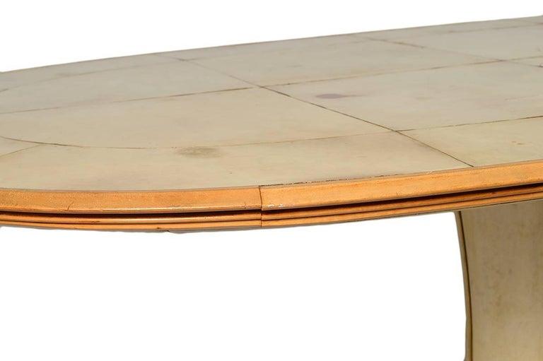Fabulous French Art Deco Parchment Pedestal Base Dining Table 5