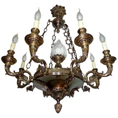 Fabulous French Empire Patinated and Gilt Bronze 9-Light Glass Torch Chandelier