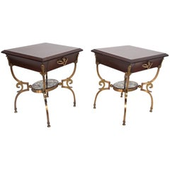 Fabulous French Side Tables Eglomise Bronze & Mahogany Nightstands, Arturo Pani