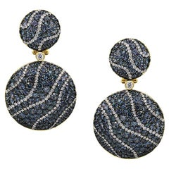 Fabulous Garnet Diamond Yellow Gold 18 Karat Chic Dangle Clip-On Earrings