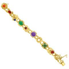 Fabulous Gemstone Set Gold Slide Bracelet