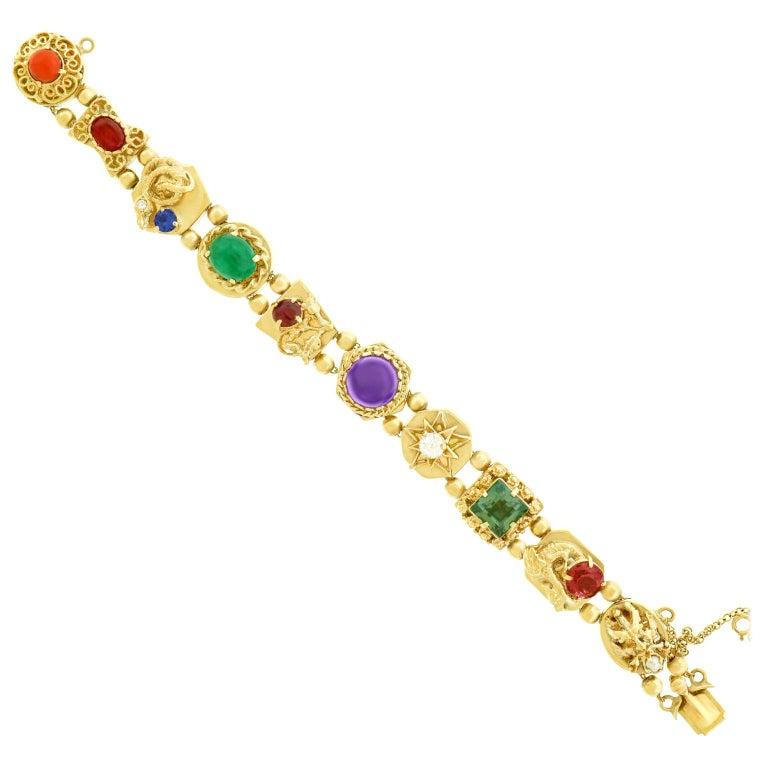 Fabulous Gemstone Set Gold Slide Bracelet at 1stdibs