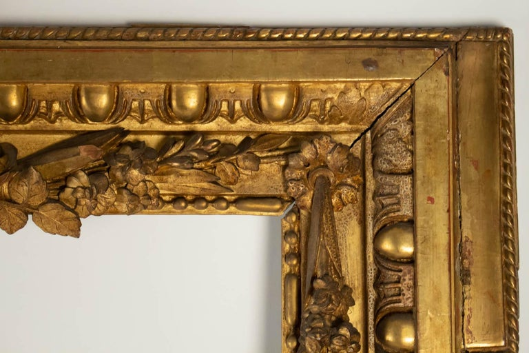 19th Century Fabulous  Giltwood and Stucco Louis XVI Style Frame, Mirror, France For Sale