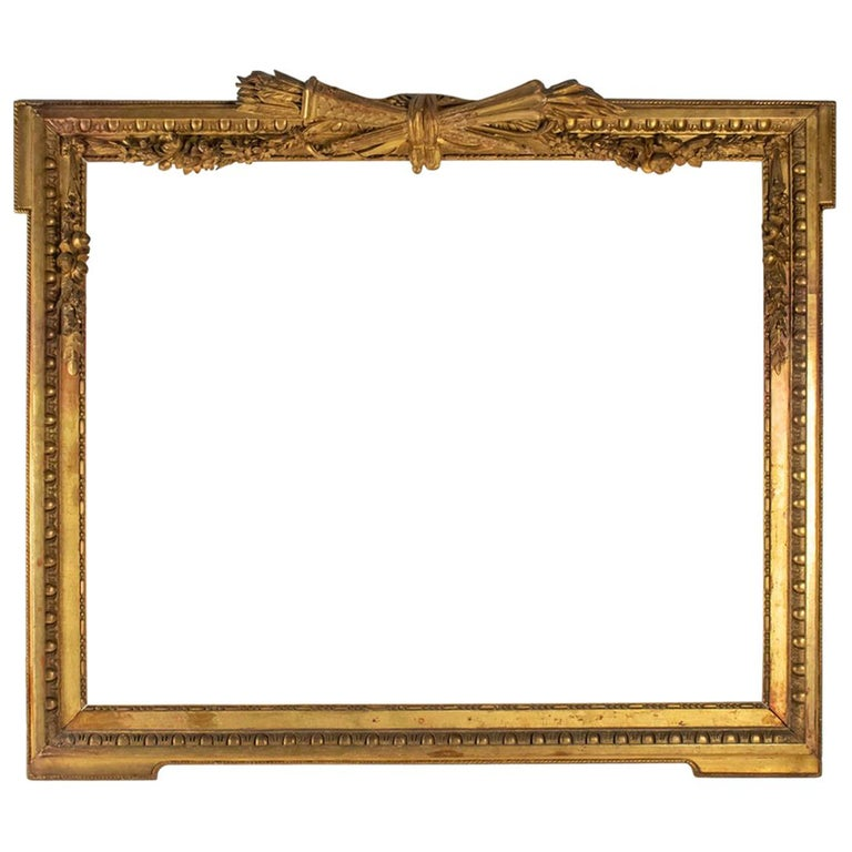 Fabulous  Giltwood and Stucco Louis XVI Style Frame, Mirror, France For Sale