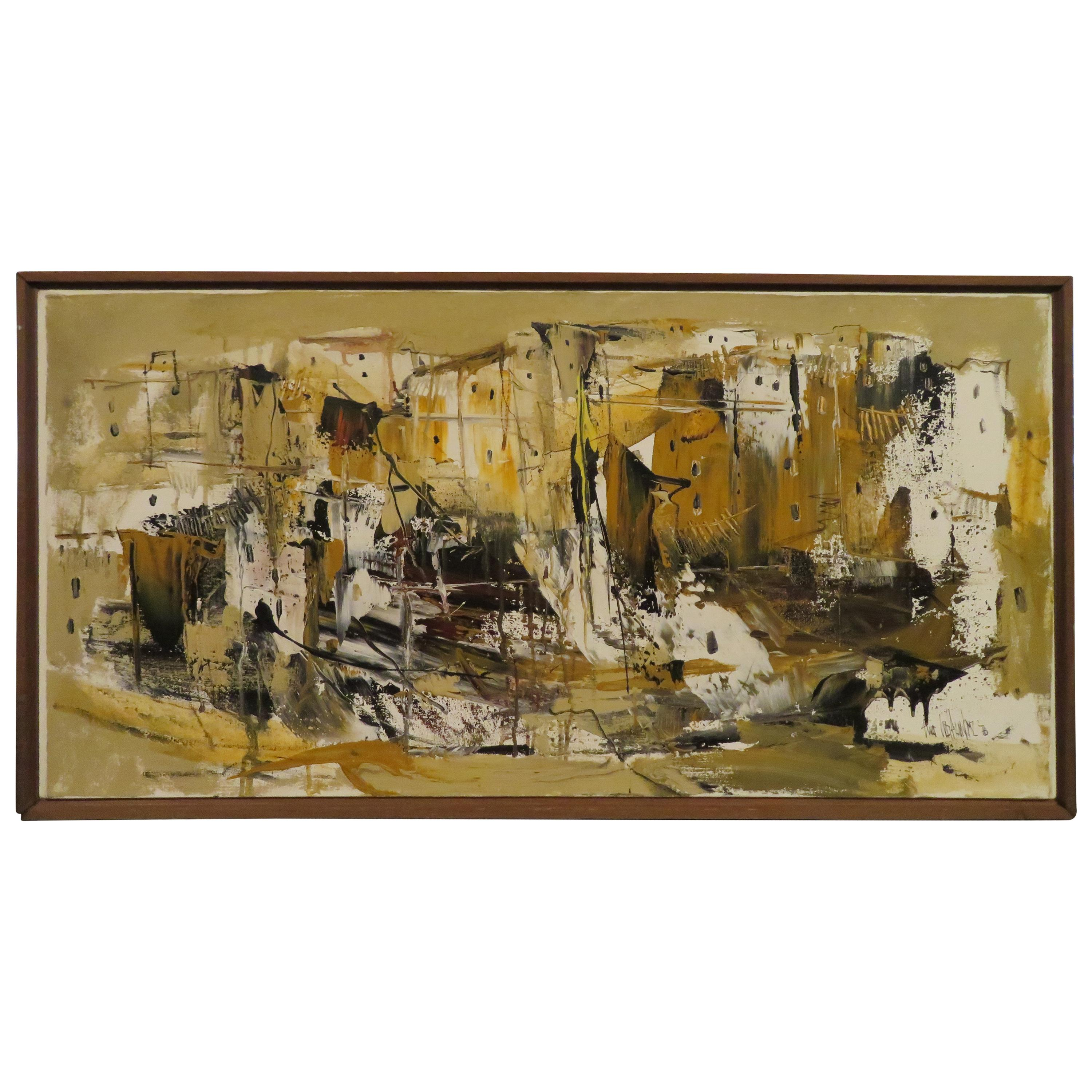Fabulous Gino Hollander Abstract Painting Mid-Century Modern