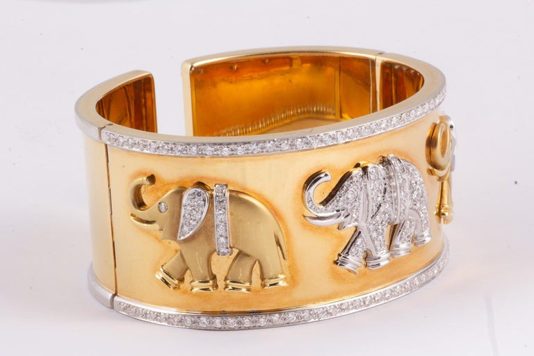Hinged 18k Yellow Gold Diamond Cuff Bracelet-2.67 carats white diamonds