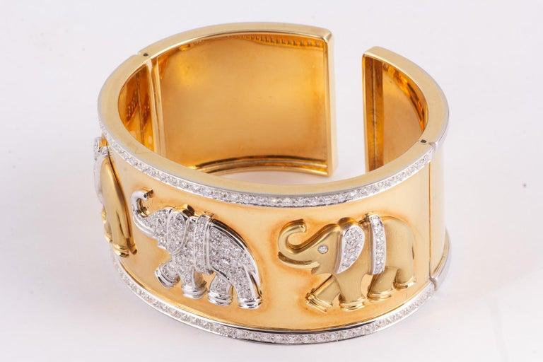 Modern Fabulous Gold and Diamond Elephant Cuff Bracelet For Sale