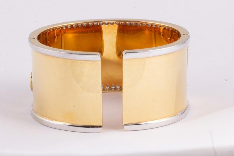 Radiant Cut Fabulous Gold and Diamond Elephant Cuff Bracelet For Sale