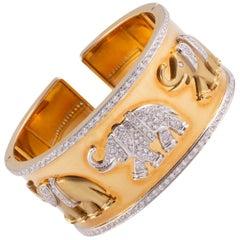 Fabulous Gold and Diamond Elephant Cuff Bracelet