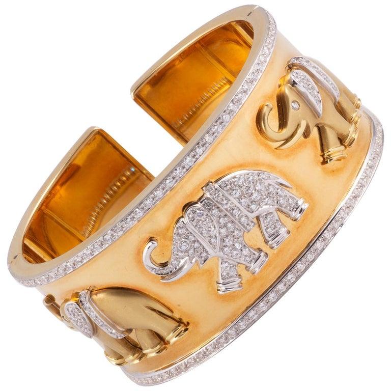 Fabulous Gold and Diamond Elephant Cuff Bracelet For Sale