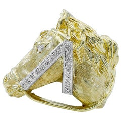 Fabulous Gold and Diamond Horse Ring