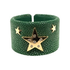 Fabulous Green Shagreen, Gold and Diamond Cuff Bracelet