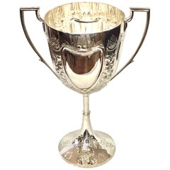 Fabulous Hand Chased English Sheffield Silver Plate Trophy or Loving Cup