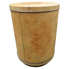 Fabulous Henredon Burl Olivewood Scene Two Round Drum End Table Modern