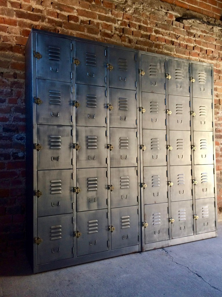 Contemporary Fabulous Industrial Metal Lockers Thirty Cabinets Loft Style Brushed Steel