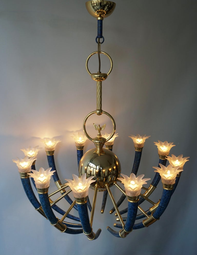 Fabulous Italian Gilt Brass and Murano Glass Torch Chandelier by Banci Firenze For Sale 5