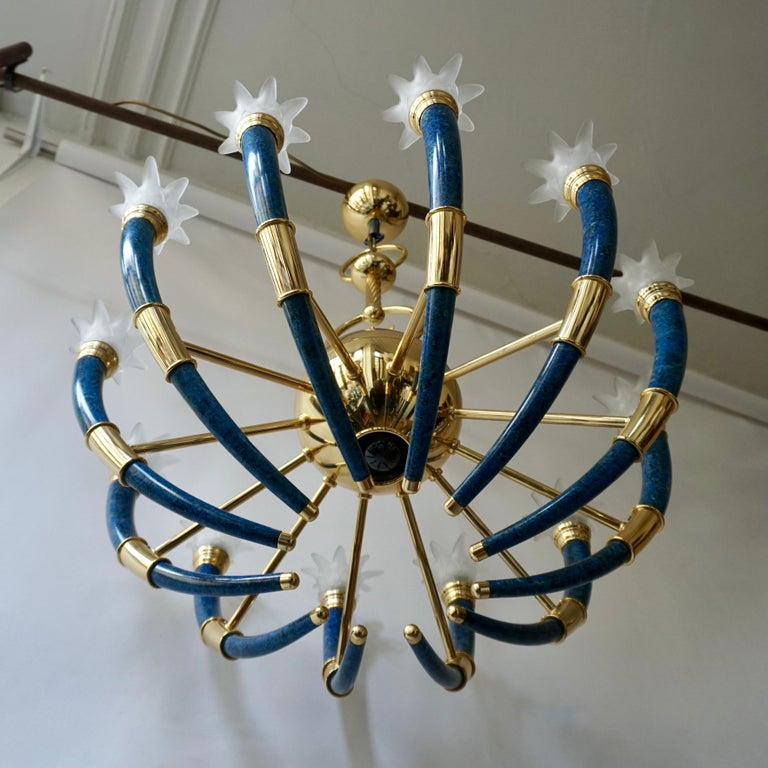 Hollywood Regency Fabulous Italian Gilt Brass and Murano Glass Torch Chandelier by Banci Firenze For Sale