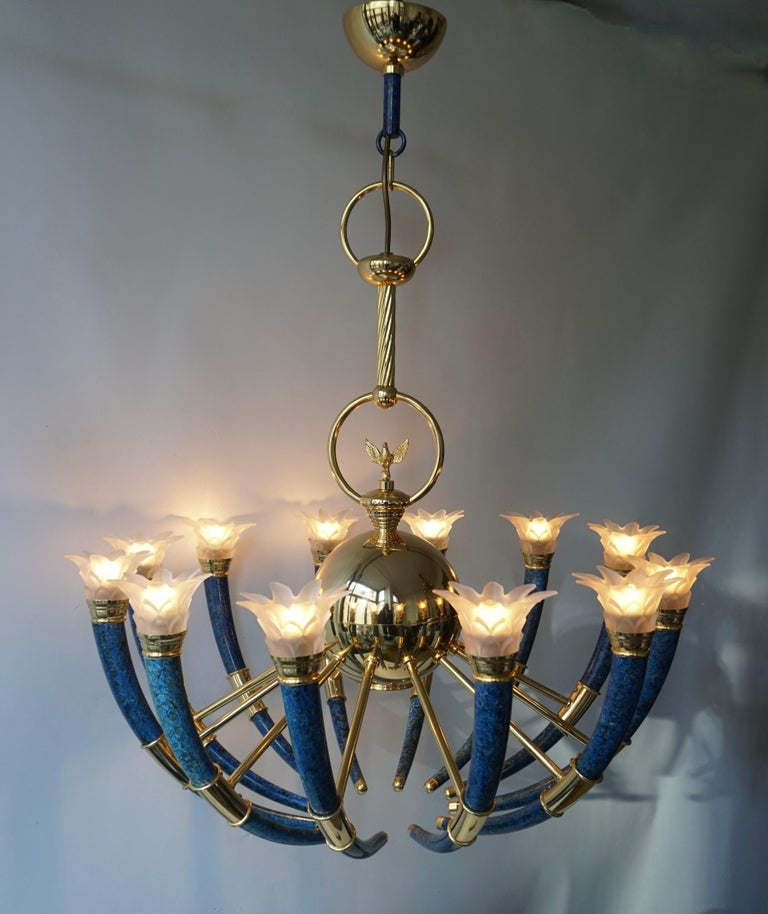 Fabulous Italian Gilt Brass and Murano Glass Torch Chandelier by Banci Firenze For Sale 1